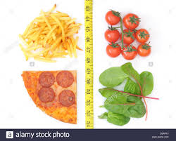 good and bad food choices separated with a measuring tape french