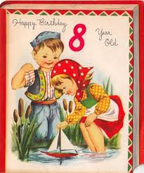 vintage greeting card children boy age 8 eight year old l977