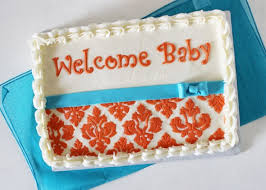 orange u0026 turquoise damask baby shower cake rose bakes
