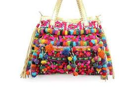 Pom Pom Decorations Stylish Beach Bag With Leather Strap And Pom Pom Decoration