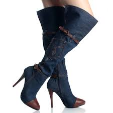 womens boots size 6 denim jean stiletto heels womens knee high boots size 6 blue