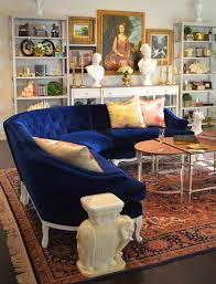 nick olsen small space tricked out french sofa blue velvet