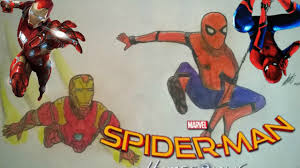 spider man homecoming draw spidey u0026 iron man speed drawing