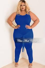 royal blue jumpsuit plus size jumpsuit with attached tie in royal blue chic and