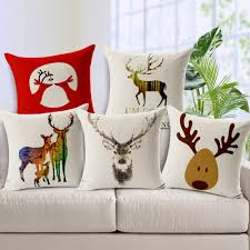 Chair Cushion Cover Merry Christmas Reindeer Pillow Cover Linen Cotton Fabric Material