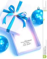 white blue ribbon white gift box with blue ribbon and blue christmas balls on white