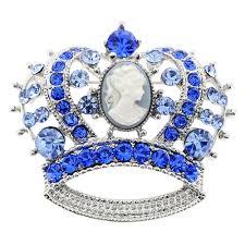 sapphire blue cameo crown crystal pin brooch fantasyard costume