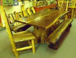 beautiful cedar dining room table including red log gallery
