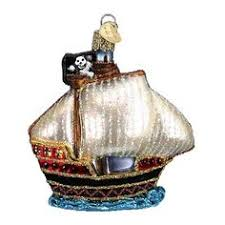 pirate ship wooden boat glass ornament new boats
