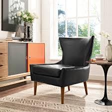 keen modern black vinyl solid wood cushion back arm chair living
