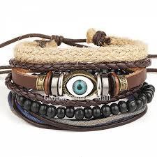 bracelet handmade leather images Mens handmade tribal vintage multilayer leather beads evil eye jpg