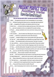 calaméo auxiliary verbs present perfect tense have has worksheet
