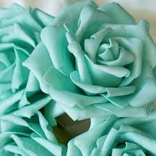 turquoise roses 6 pack aqua foam flower bouquet for wedding centerpiece vase