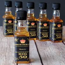 50th birthday favors party starters mini liquor labels take the party up a notch