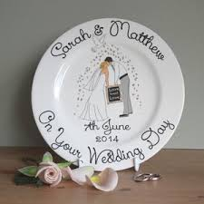 and groom plates personalised wedding signature plate by nation pottery