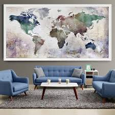 Large Home Decor Large World Map Watercolor Push Pin Push Pin Travel Wolrd Map