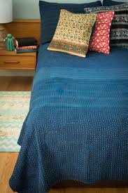 Aqua Bedspread Navy Quilt Bedding Hand Dyed Indigo Bedding Dignify