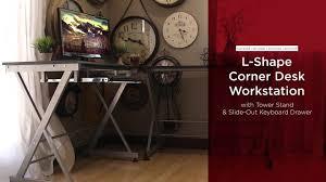 Wooden Corner Desk Top Have Slide Out Drawer For Keyboard by Best Choice Products Wood L Shape Corner Computer Desk Pc Laptop