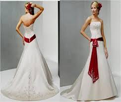 red accented wedding dress naf dresses