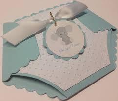 blue diaper die cut shape baby shower invitations elephant
