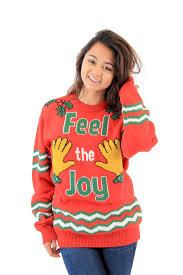 feel the joy groping hands tacky christmas sweater