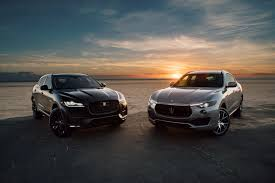 black maserati cars jaguar f pace r and maserati levante s luxury suv test drive