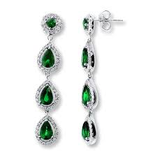 emerald earrings jared emerald earrings 7 8 ct tw diamonds 14k white gold