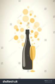 champagne transparent bottle glass champagne transparent bubbles on stock vector