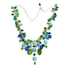 bead charm necklace images Green and blue glass bead charm necklace jpeg