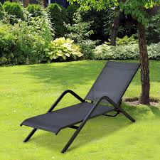 outsunny pool chaise lounge chair recliner outdoor patio furniture