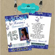 Vip Invitation Cards Blue Butterfly Vip Pass Invites Invitaciones De 15 Años Vip
