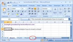 ms excel 2007 insert a sheet