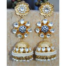 gold jhumka earrings pearl kundan gold jhumka earrings