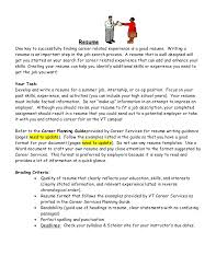 How To Write A Resume With One Job Experience by Resume Instructions