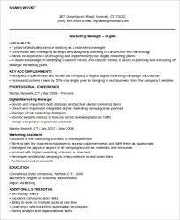 Assistant Marketing Manager Resume Sample Sample Digital Marketing Resume 8 Examples In Word Pdf