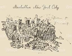 top view manhattan new york united states sketch stock vector art