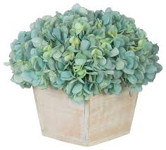 teal flowers artifial hydrangea in white washed wood cube teal transitional