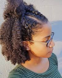 natural hairstyles for women over 50 wash and go with three cornroll braids in front this was a new
