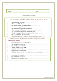 Adjectives That Compare Worksheets Comparison Of Adverbs Worksheet Free Esl Printable Worksheets