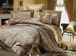 Jacquard Bedding Sets Satin Silk Floss Jacquard Set Bedding 100 Cotton Golden King