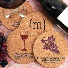coaster favors custom printed corkboard wedding drink coasters