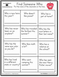 find someone who worksheet teaching free printables pinterest