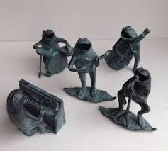 bronze brass verdi green frog jazz band figures statue drums banjo
