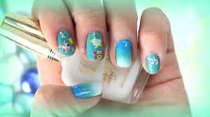 summer beach ombre nail art design for short nails with decals