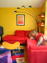 Yellow Table L Living Room Living L Fabric Sofa And Yellow Table On