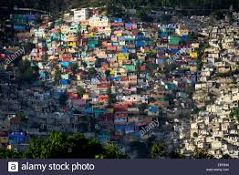 Painted Houses Brightly Painted Houses In A Slum Port Au Prince Haiti Stock