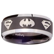 superman wedding rings 5mm black tungsten carbide batman superman laser engraved wedding