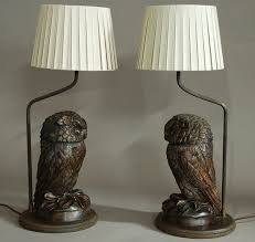 Owl Table Lamp Superb Pair Of Finely Carved Black Forest Owl Table Lamps 1870