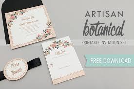 wedding invitations free artisan botanical free printable wedding invitation
