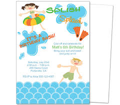 kids party pool party kids birthday party invitation template